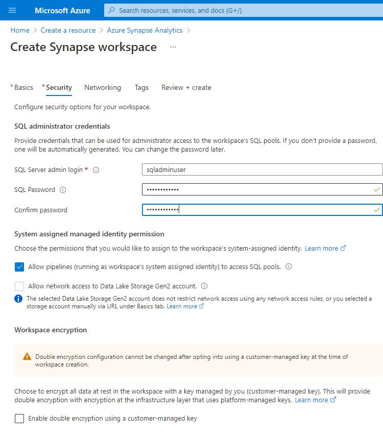 Create Azure Synapse Analytics - Security  tab