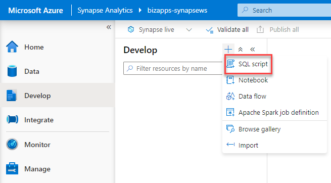 Azure Synapse Analytics Studio - New SQL Script from Develop page