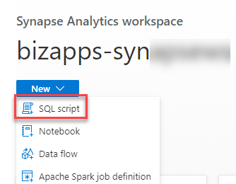 Azure Synapse Analytics Studio - New SQL Script from Home Page