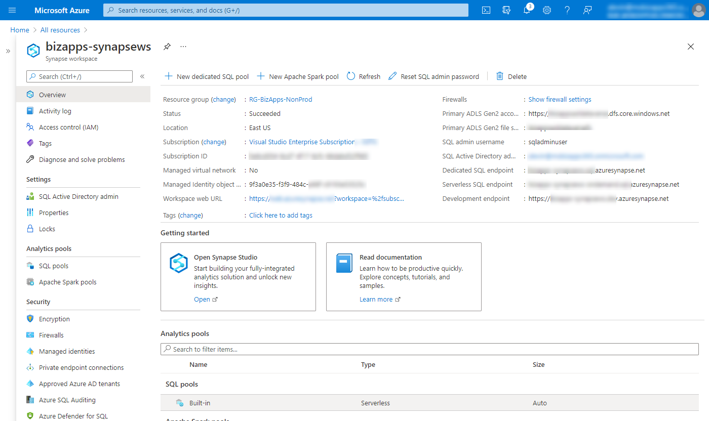 Azure Synapse Analytics - Overview page