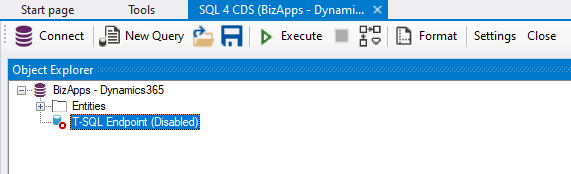 TDS endpoint (Xrm ToolBox - SQL 4 CDS)